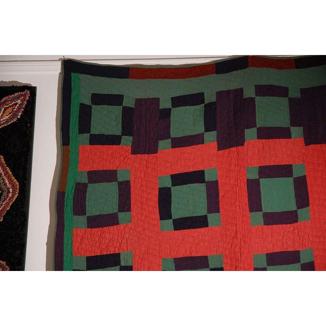 Early 20thc Amish Nine Patch Wool Quilt From Pennsylvania - Image 7 of 9