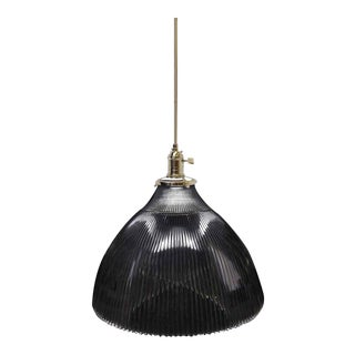 Antique Holophane Prism Glass Pendant Light