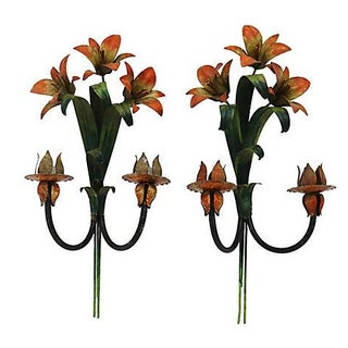 French Tole Floral Wall Sconces - Pair