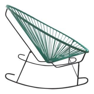 Handwoven Aqua Acapulco Rocking Chair