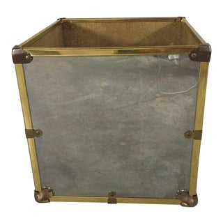 """Cube"" Chrome and Brass-Mounted Trunk Motif Cachepot"