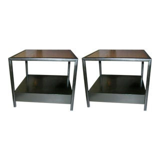 Michael Taylor for Baker Furniture Square Lamp Tables - a Pair