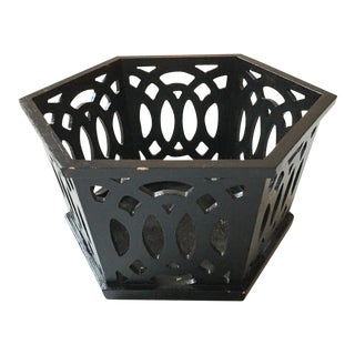 Antique Painted Wood Fretwork Cachepot