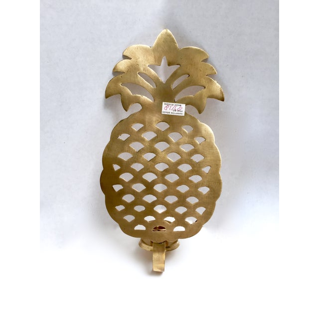 Brass Pineapple Candle Sconces - A Pair - Image 3 of 7