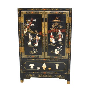 Antique Asian Hard Stone Black Lacquer Cabinet