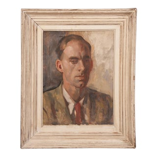 An oil on canvas painting of a gentleman in a pensive pose depicting the head and shoulders by Victor Hume Moody from England c.1960