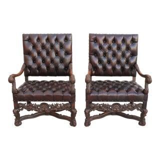 1930s Italian Baroque Style Armchairs - A Pair