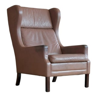 Borge Mogensen Style Leather Wingback Chair