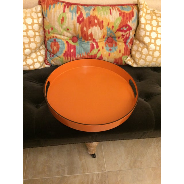 Hermes Style Orange Lacquer Serving Tray - Image 3 of 10