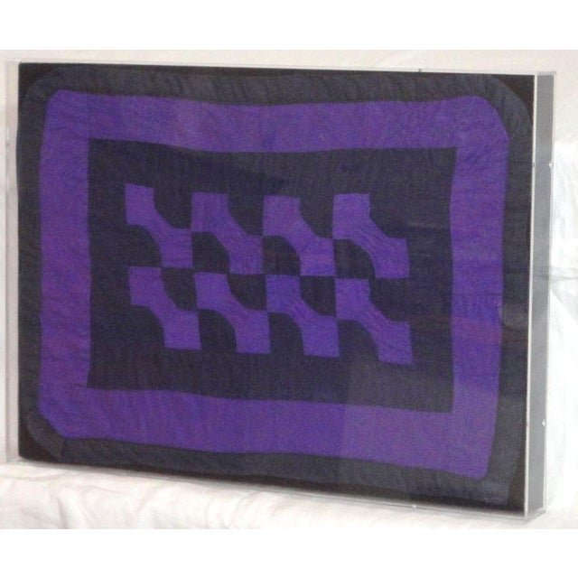 Image of Rare 1940s Amish Bowtie Doll Quilt in a Plexy Box Frame