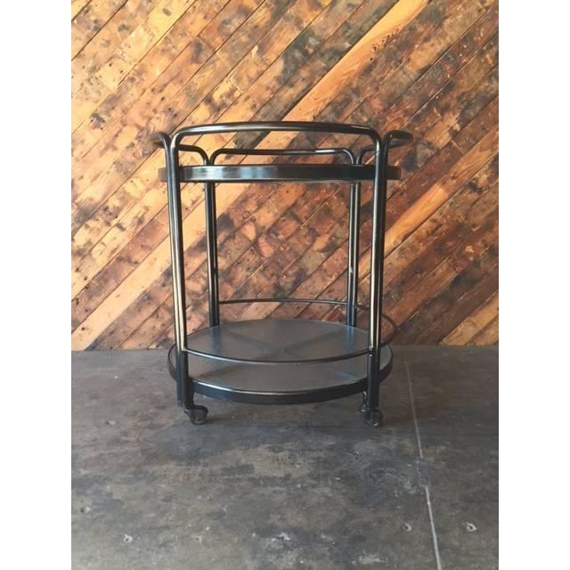 Rolling Outdoor Metal Glass Bar Cart - Image 2 of 6