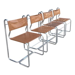 Modern Chrome & Leather Chairs - Set of 4