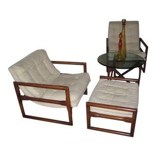Milo Baughman MidCentury Cube Chairs & Ottoman - Set of 3