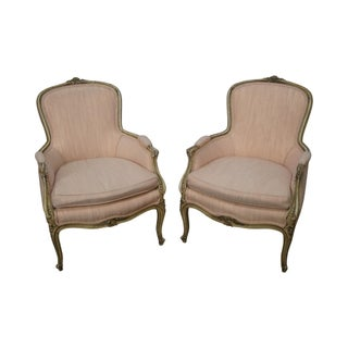 Vintage French Louis XVI Style Bergere Chairs - A Pair