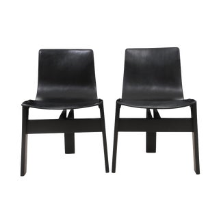 Mid-Century Leather Sling T Chairs - A Pair