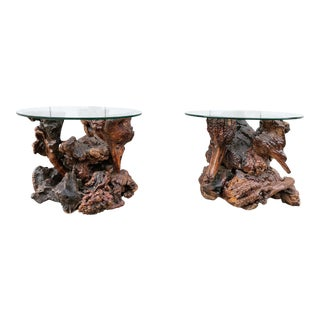 Rustic Tree Trunk Coffee Tables - A Pair