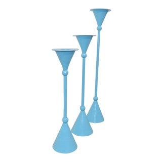 Mid Century Modern Brass Blue Candelabra Candlestick Holders - Set of 3