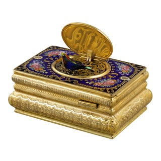 Swiss Gilt And Enamel Singing Bird Box