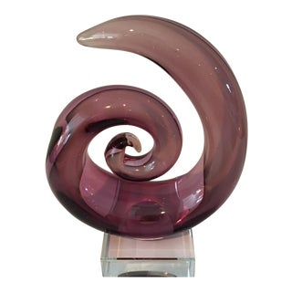 Purple Contemporary Glass Sculpture on Clear Base