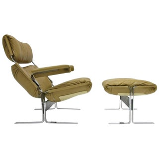 Comfortable Steel and Leather Lounge Chair and Ottoman by R. Hersberger