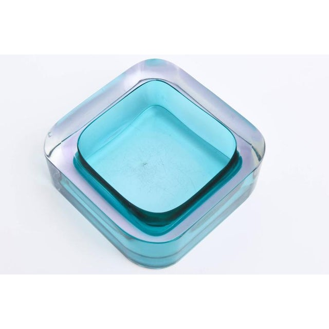 Italian Flat Cut Polished Cenedese Sommerso Square Glass Bowl - Image 7 of 9