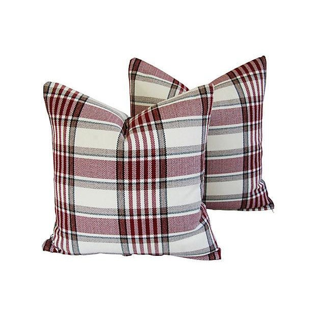 Custom Red, White & Black Plaid Pillows - A Pair - Image 1 of 7