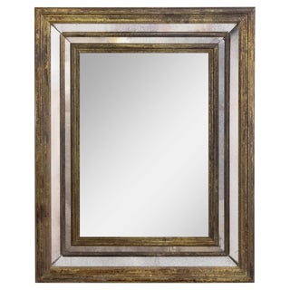 Vintage French Brass Framed Wall Mirror
