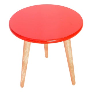 High Lacquer Stool- Red