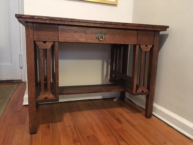 stickley writing desk Arts & crafts antiques desks- also for sale, antique stickley furniture rookwood and roseville pottery and arts & crafts period antiques.