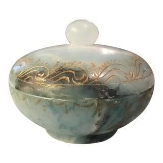 Etched Alabaster Covered Jar