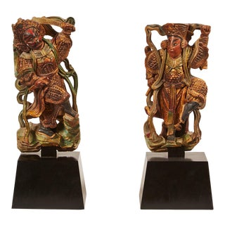 Pair of 20th Century Taiwanese Deity with Stand
