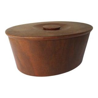 Gladmark Burbank California Mid Century Modern Teak Lidded Bowl Large Container