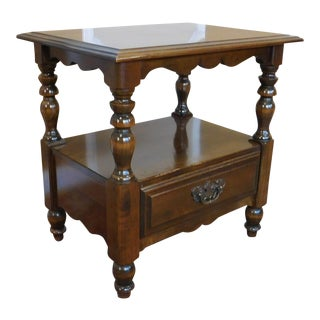 1950s Thomas P Beals Colonial 2 Tiered Night Table