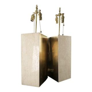 Mid-Century Brass & Travertine Panel Lamps - Pair