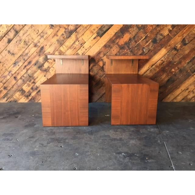 Mid-Century Vintage Walnut Side Tables - A Pair - Image 2 of 8