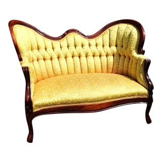 Victorian French Gold Tufted Settee Loveseat