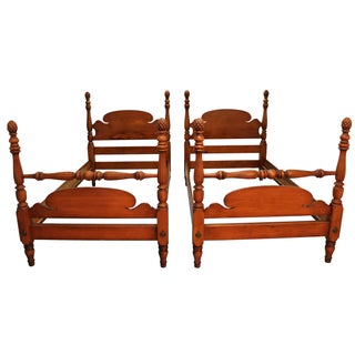 Traditional Pineapple Bleached Mahogany Twin Size Bedframes - A Pair