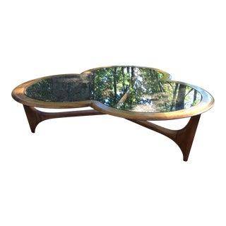 Mid-Century Modern Lane Clover Walnut Glass Table