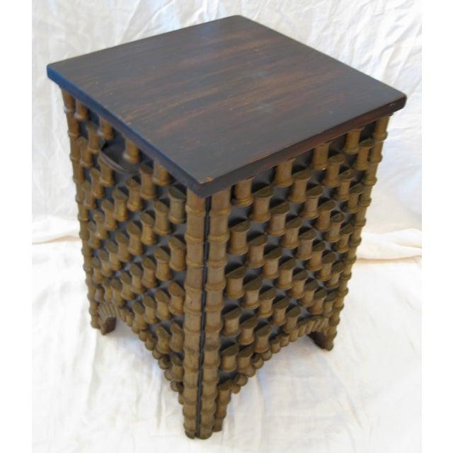 Folk Art Spool Table With Hidden Storage - Image 2 of 6