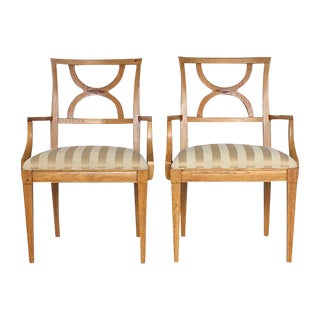 Inlaid Wood Armchairs - A Pair