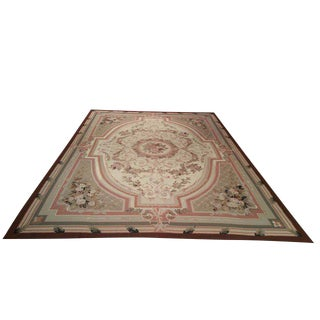 French Needlepoint Handmade Knotted Rug - 10′ × 14′