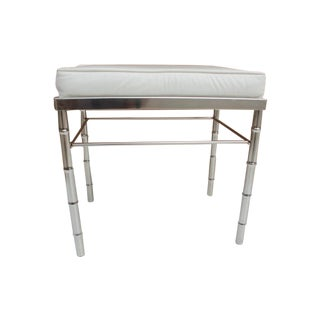 Hollywood Regency Faux Bamboo Chrome Vanity Stool