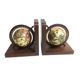 Mid-Century Wooden Old World Globe Bookends - A Pair