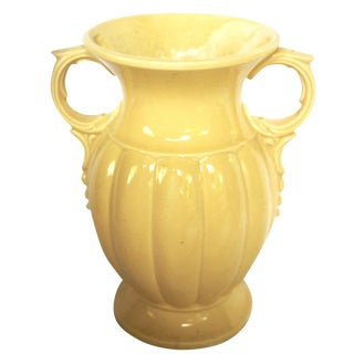Vintage McCoy Yellow Pottery Vase