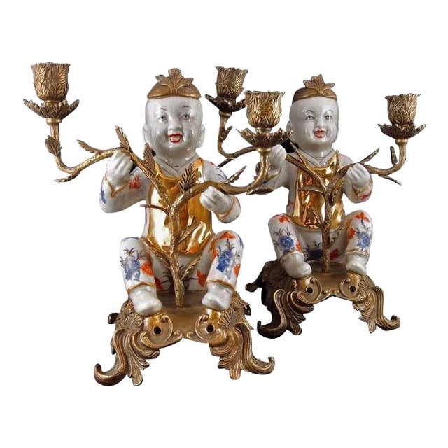 Image of Pair of Chinoiserie Figural Porcelain and Ormolu Two Arm Candelabra