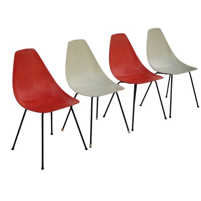 Image of Vintage 1960s Fiberglass Shell Chairs - Set of 4