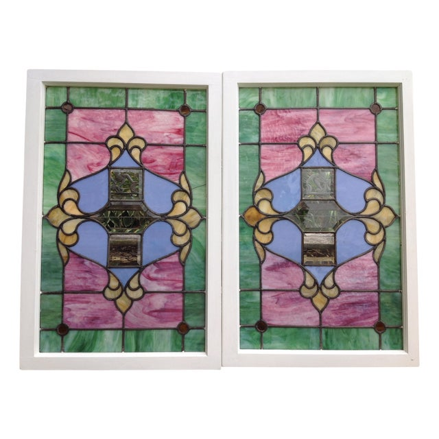 Antique Stained Glass Windows - Pair - Image 1 of 6