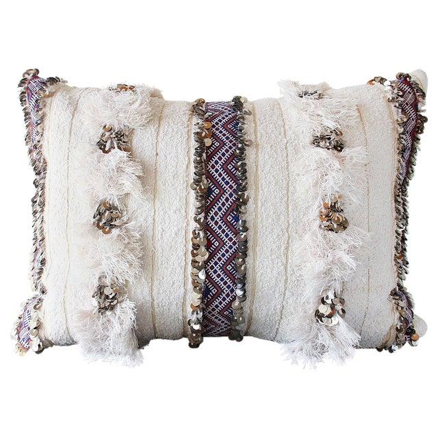 Moroccan Handira Wedding Blanket Pillow VII - Image 1 of 8