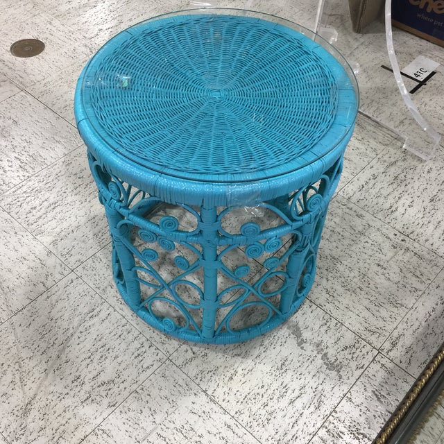 Blue Wicker Drum Table - Image 6 of 9