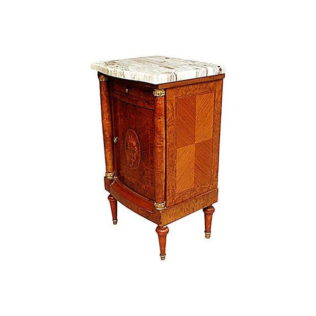 French Neoclassical Burled Mahogany Nightstand - Image 1 of 5